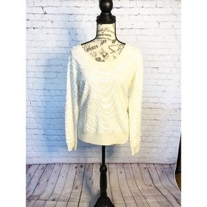 NWOT Calvin Klein Cream Sequined Sweater